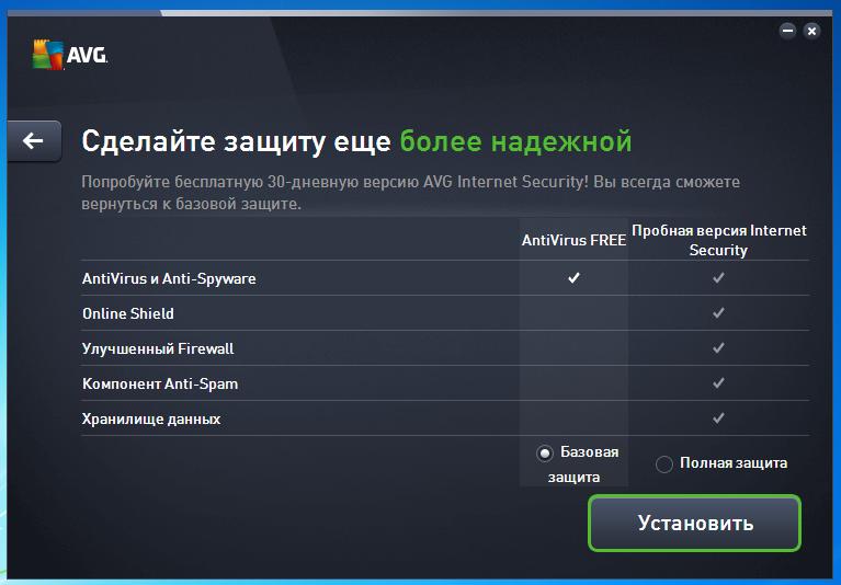 Навязывание пробной версии AVG