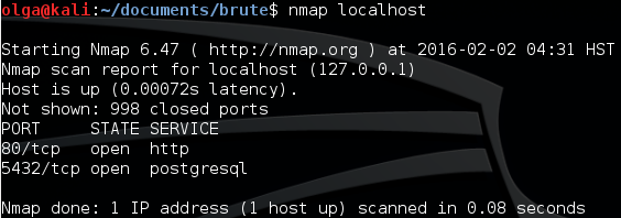 Fig. 1. Nmap table output