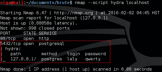 Fig. 4. The retrieved login and password are displayed in the Nmap table