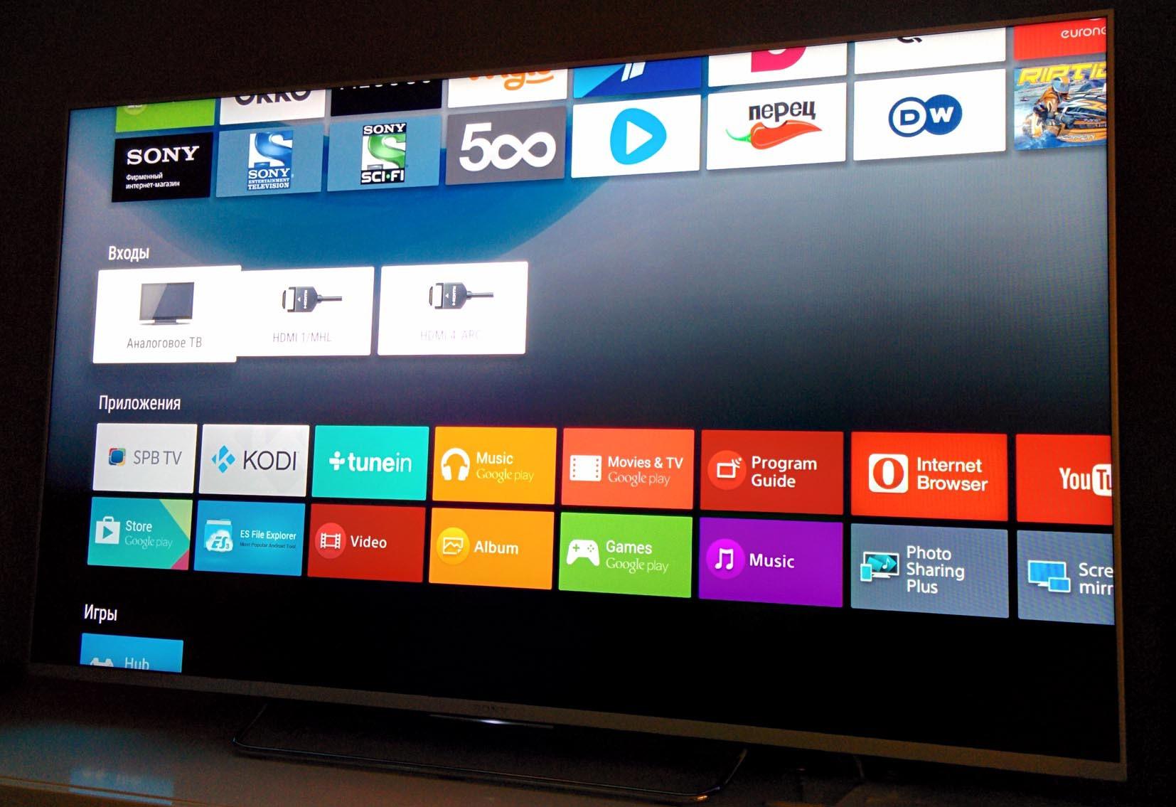 Один из умных телевизоров от Sony