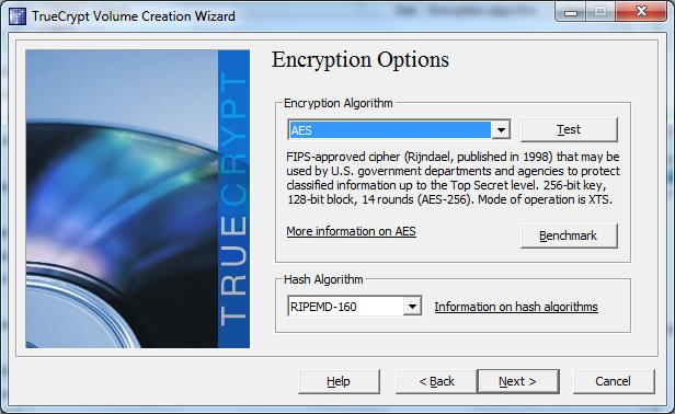 Настройки TrueCrypt