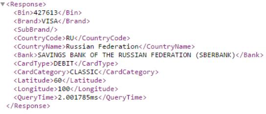 Рис. 7. Результат выполнения запроса на сервер www.binlist.net