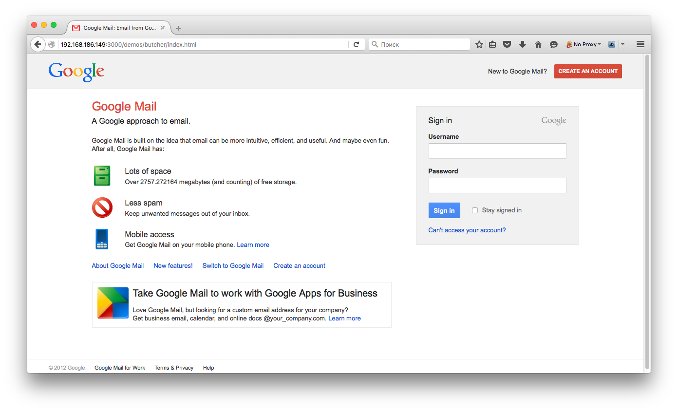 Фишинговая страница логина в GMail, показанная жертве с помощью BeEF