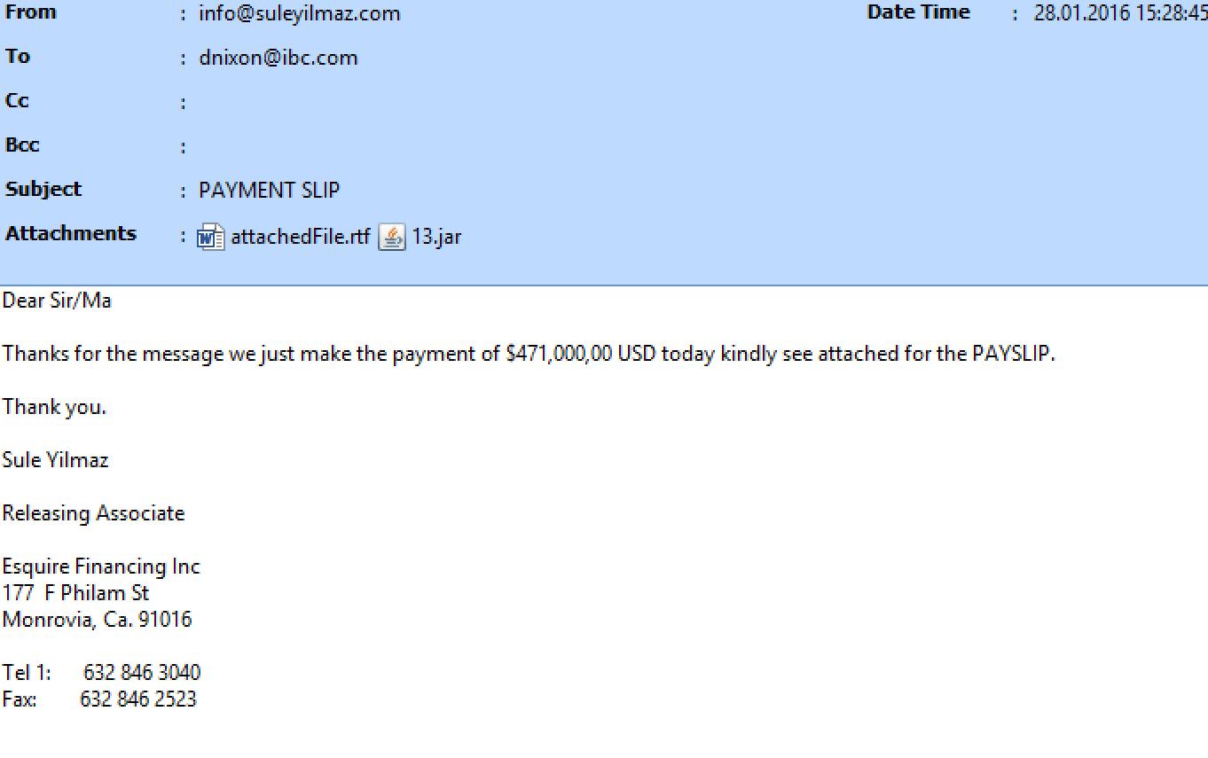 Пример фишинг-письма, содержащего вредоносное вложение, которое преступники отправляли финансовым организациям