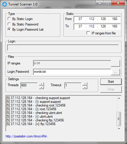 Программа Tunnel Scanner в работе