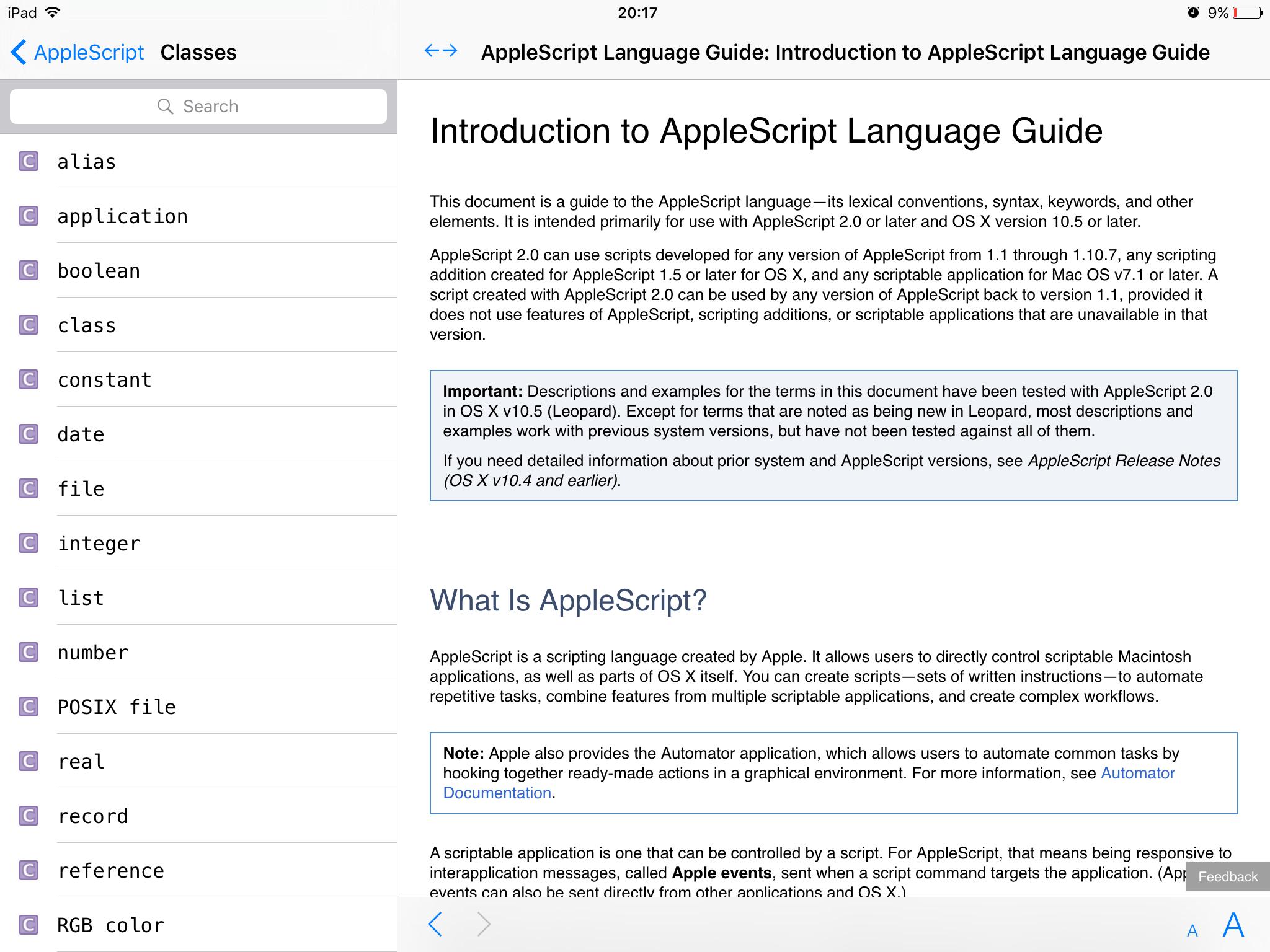 Введение в справочник по AppleScript