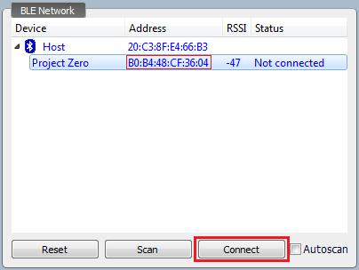 Внешний вид приложения BLE Device Monitor