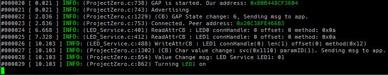 Состояние светодиода через службу BLE