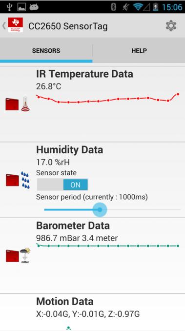 Внешний вид приложения SensorTagApp