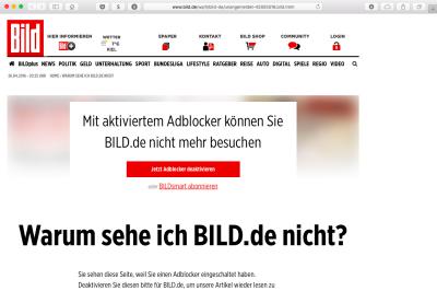 Посетителей сайта немецкого издания Bild, использующих Adblock Plus,  встречает требований выключить баннерорезку