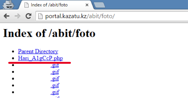 Листинг файлов директорий сервера