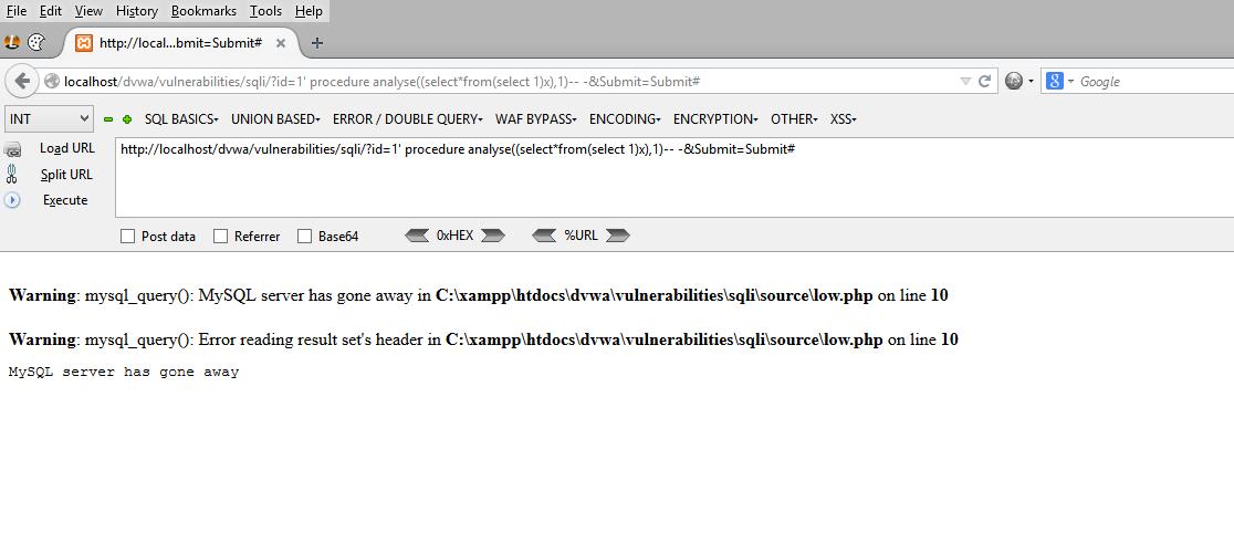 Пример атакующего запроса на тестовое приложение с MySQL
