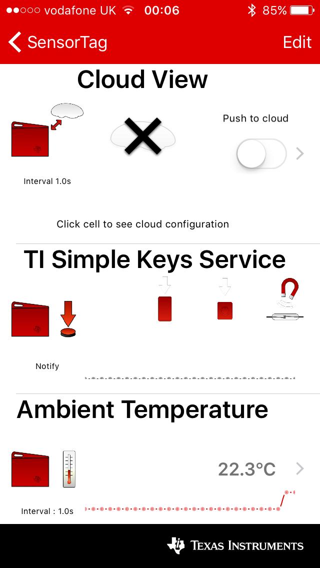 Рис. 2. Приложение SensorTagApp