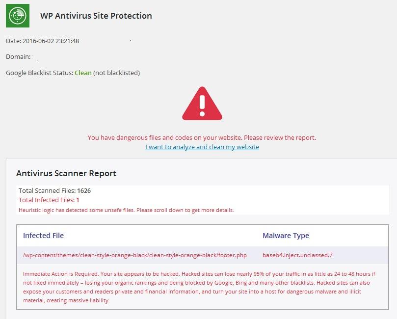Отчет плагина об обнаружeнном malware