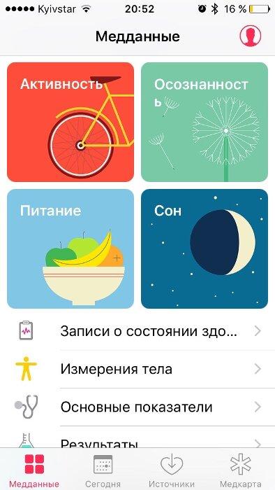 Первая вкладка приложения «Здоровье»