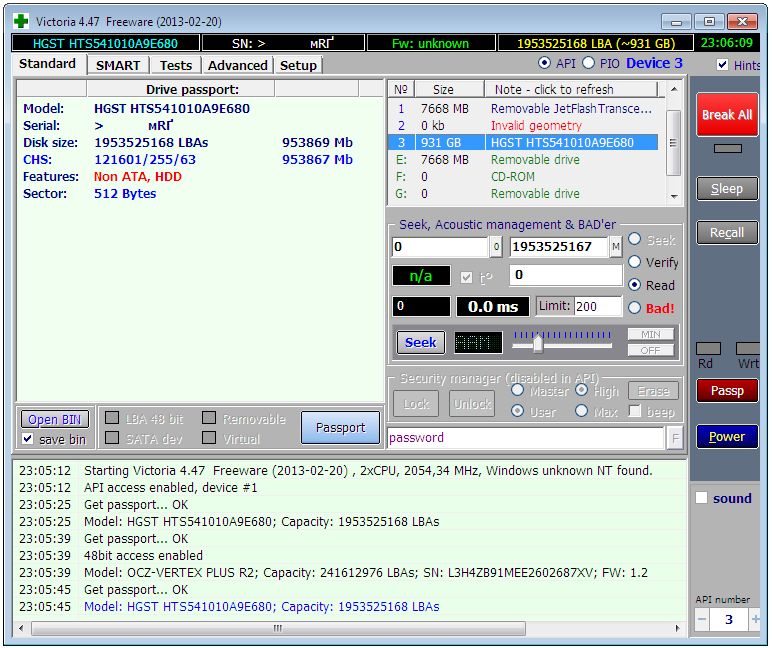 Запуск Victoria 4.47 в Windows 7 SP1 x64, режим API