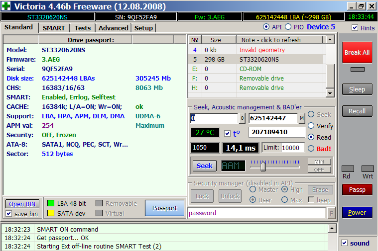 Паспорт диска, принудительный запуск теста SMART и управление AAM в программе Victoria 4.46b