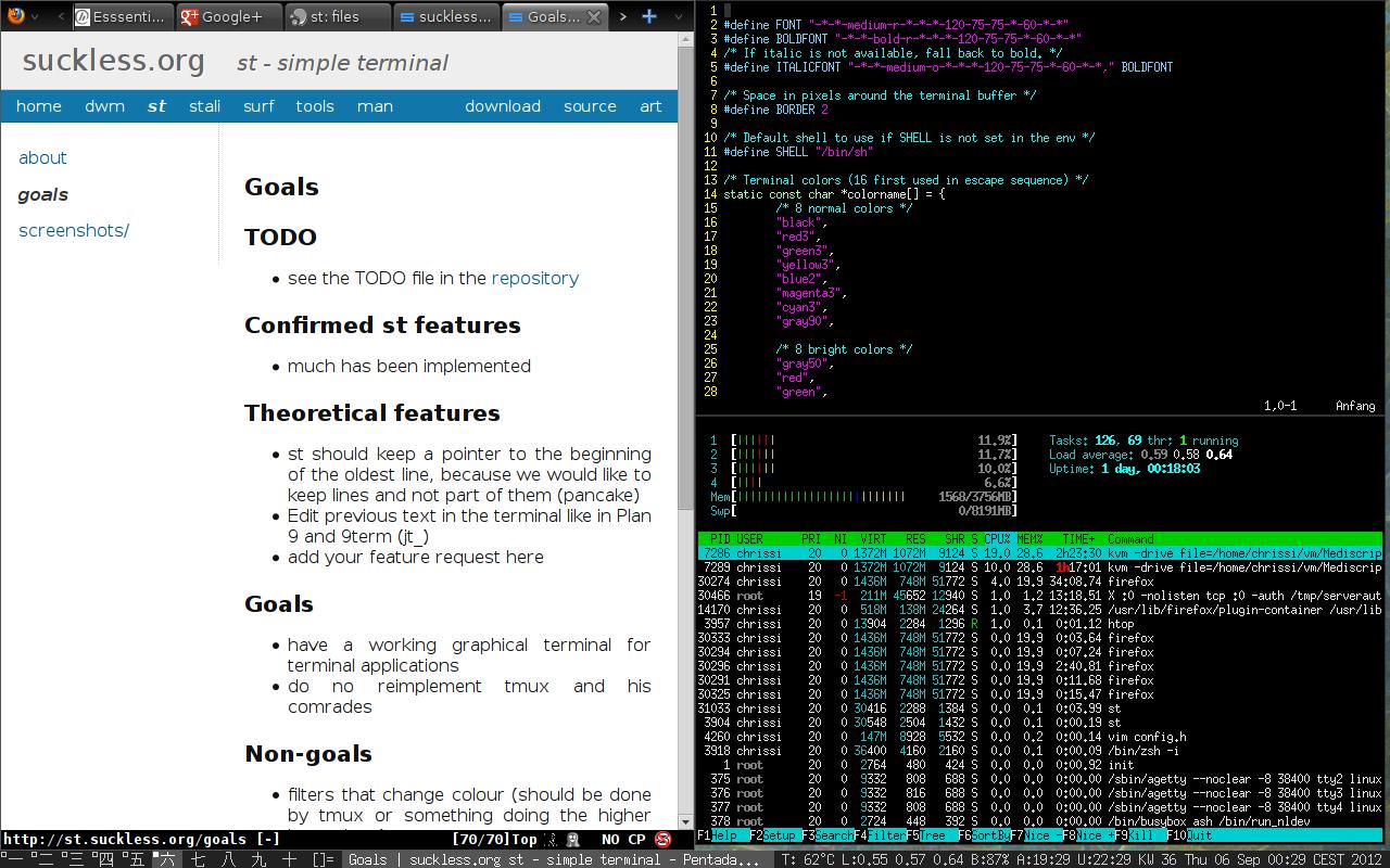 Dwm, Firefox и два окна st