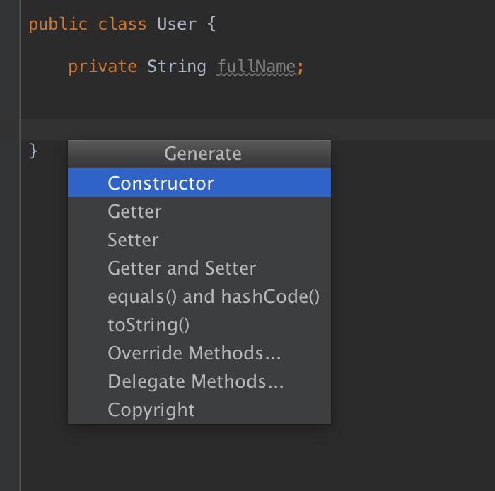 Рис. 1. Диалог генерации кода в Android Studio