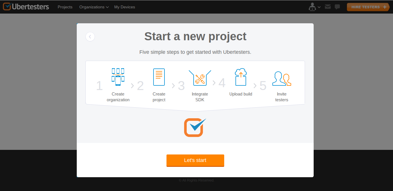 Создаем новый проект на Ubertesters
