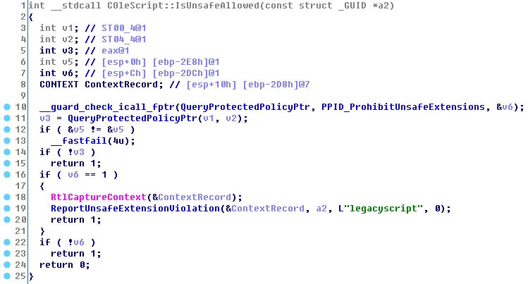 Псевдокод функции `IsUnsafeAllowed()` в версии за май