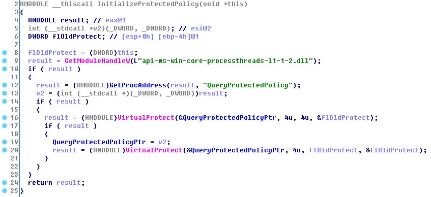 Псевдокод функции InitializeProtectedPolicy()