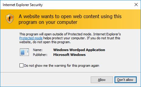 Окно при порождении процесса Wordpad.exe