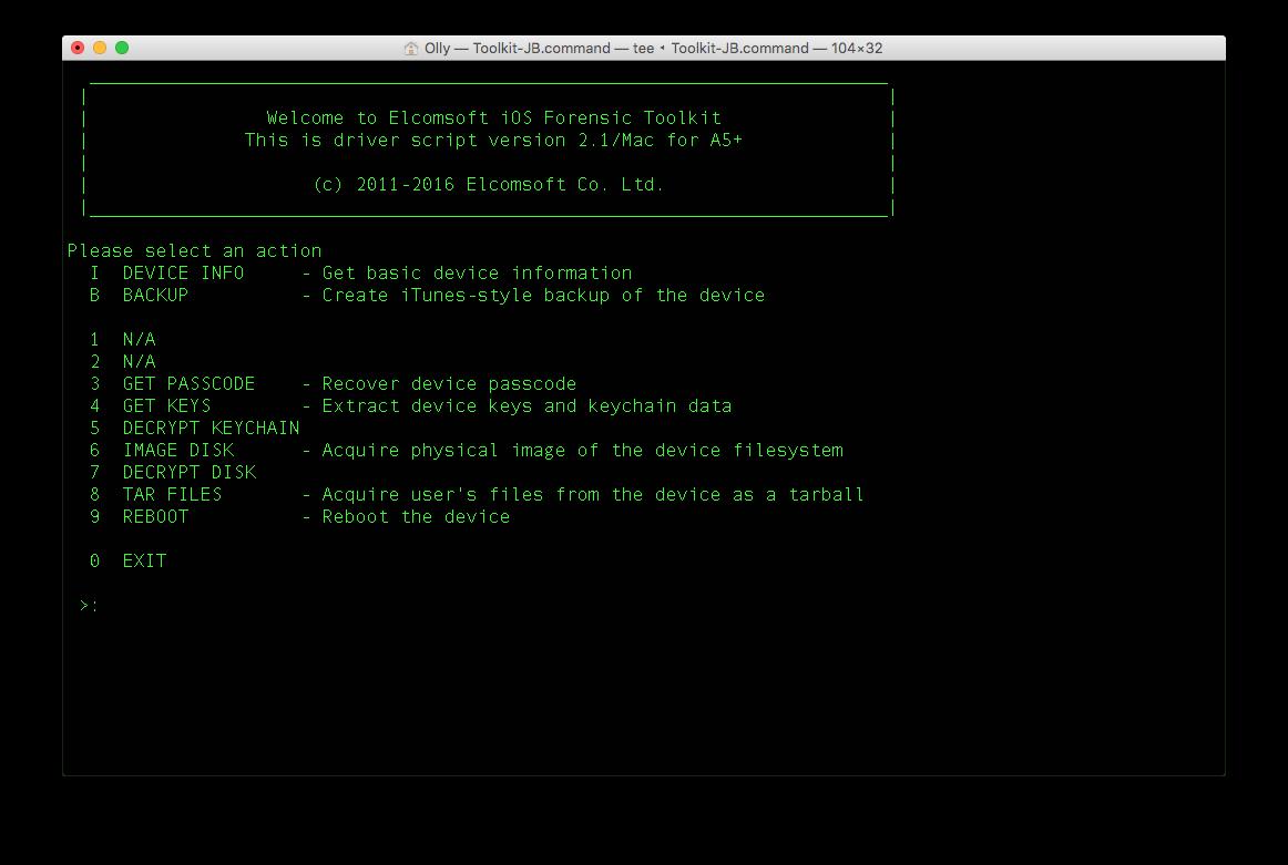 Рис. 3. Интерфейс Elcomsoft iOS Forensic Toolkit