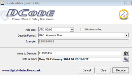 Рис. 7. Декодированная временная метка в формате MAC Absolute