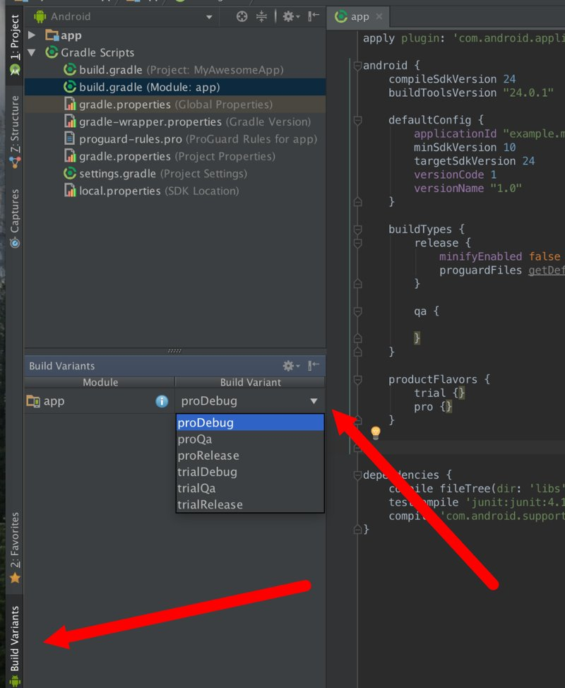 Рис. 1. Выбор Build Variant в Android Studio