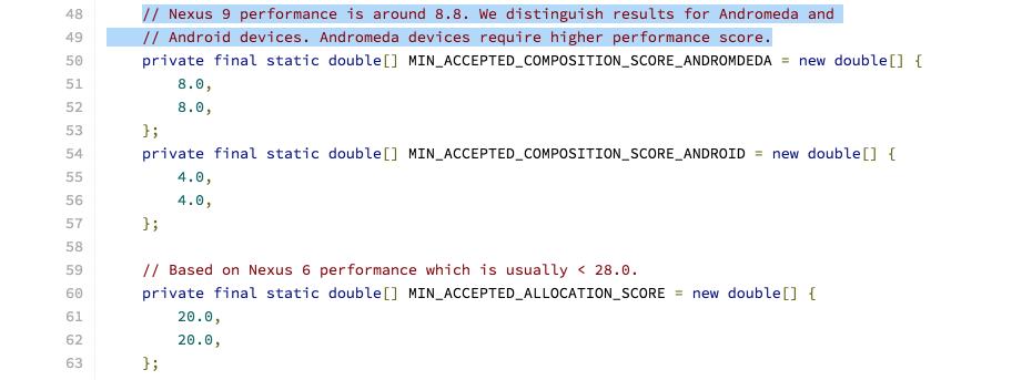 Упоминание Andromeda в исходных текстах Android 7.0