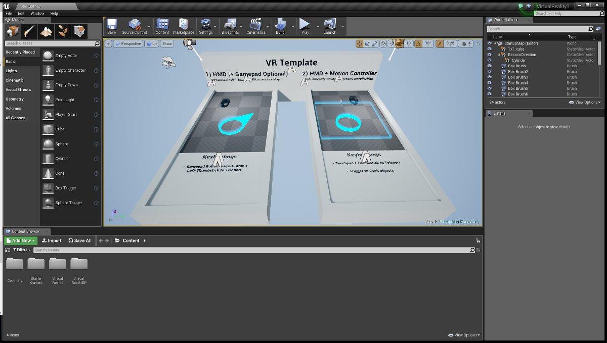 Unreal Engine 4 с загруженным проектом VR