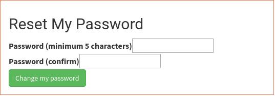 Форма установки нового пароля