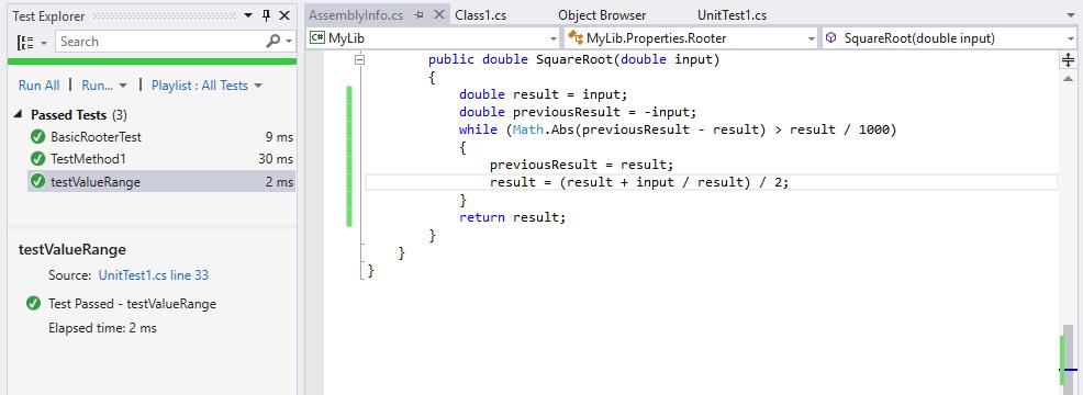 Процесс модульного тестирования в Microsoft Visual Studio: все тесты пройдены