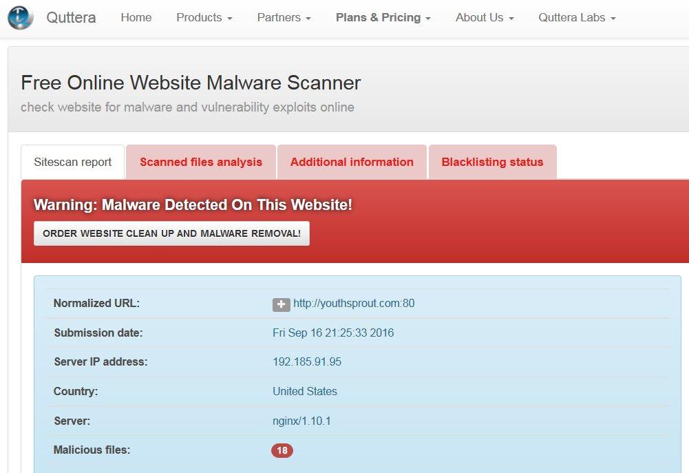 18 инфицированных файлов на веб-странице из теста № 7