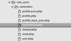 Структура контроллеров компoнента com_users