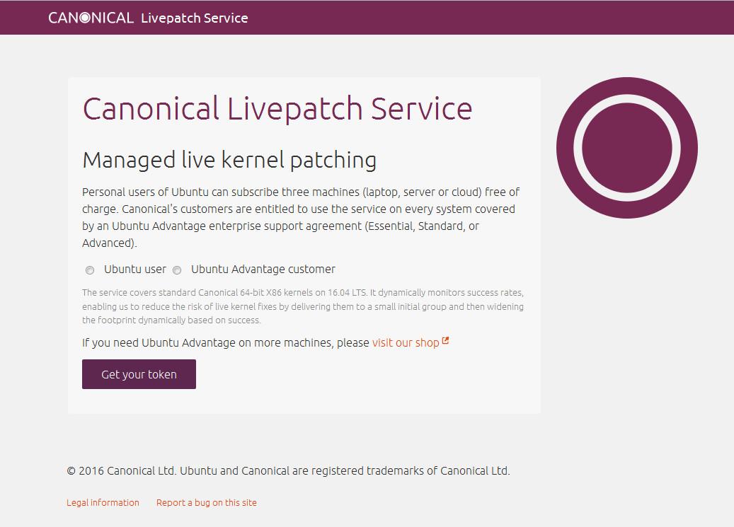 Для использования livepatch в Ubuntu необходимо зарегистрироваться