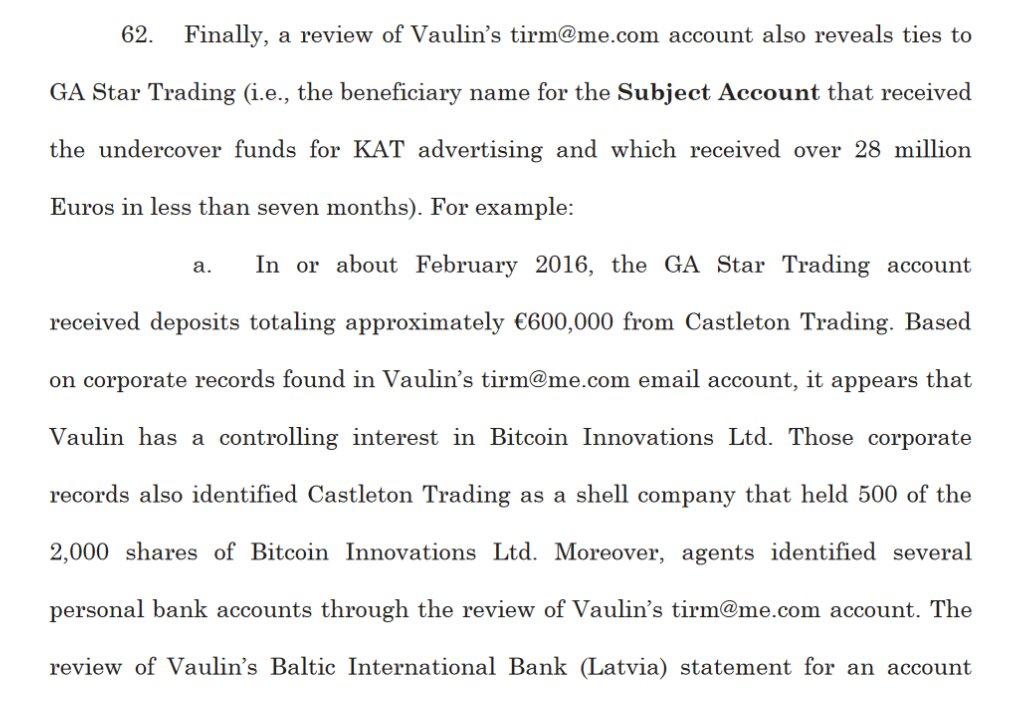 Обвинение Ваулина в отмывании денег через криптовалюту
