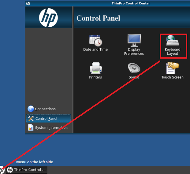 Пример интерфейса панели упpавления и расположения Keyboard Layout