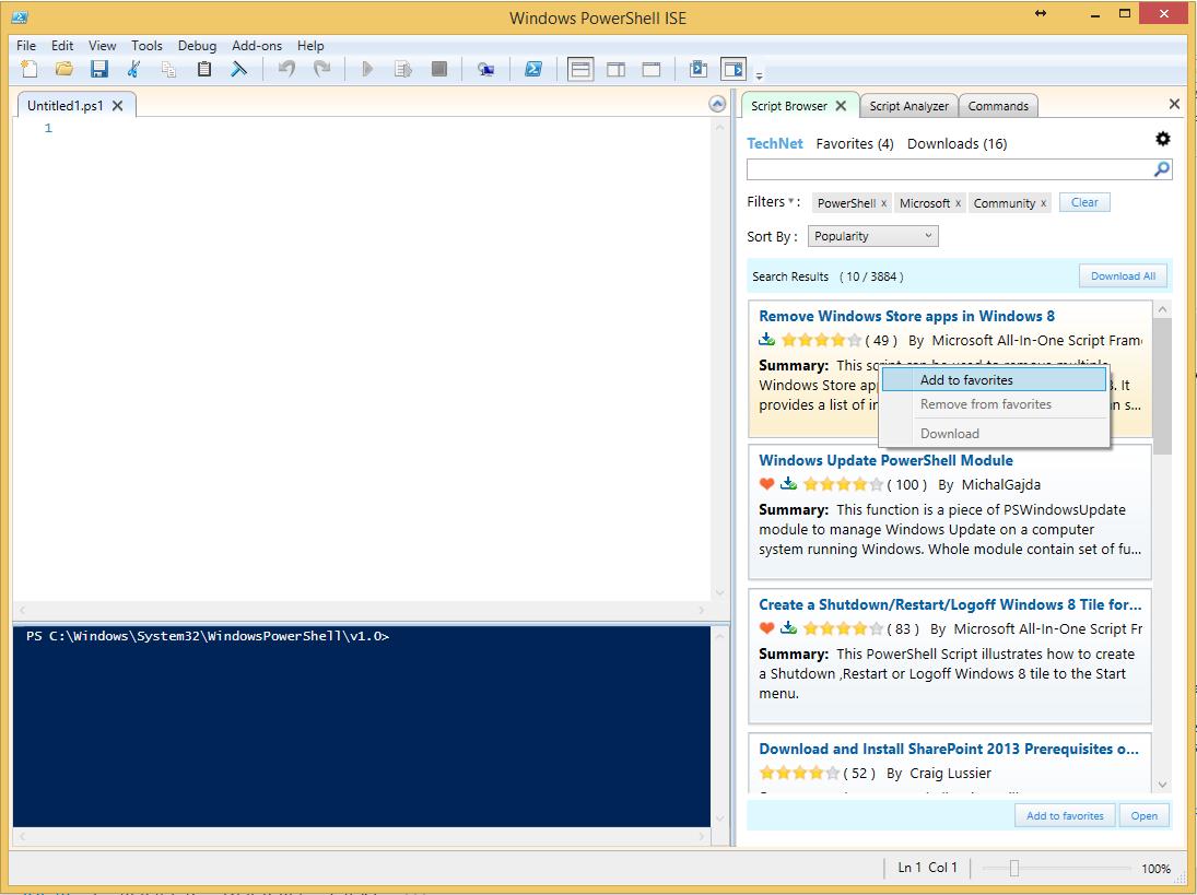 Script Browser для Windows PowerShel
