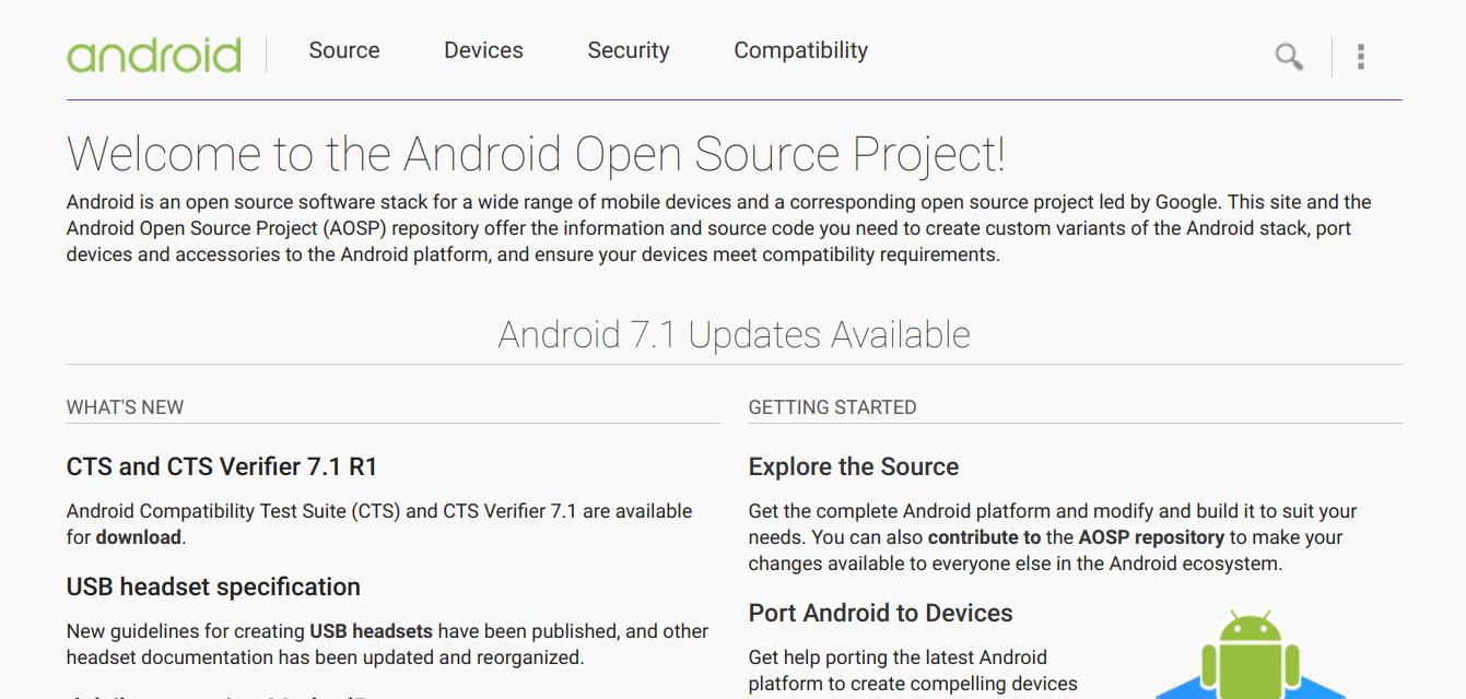 Исходные коды последних версий Android всегда доступны на сайте source.android.com