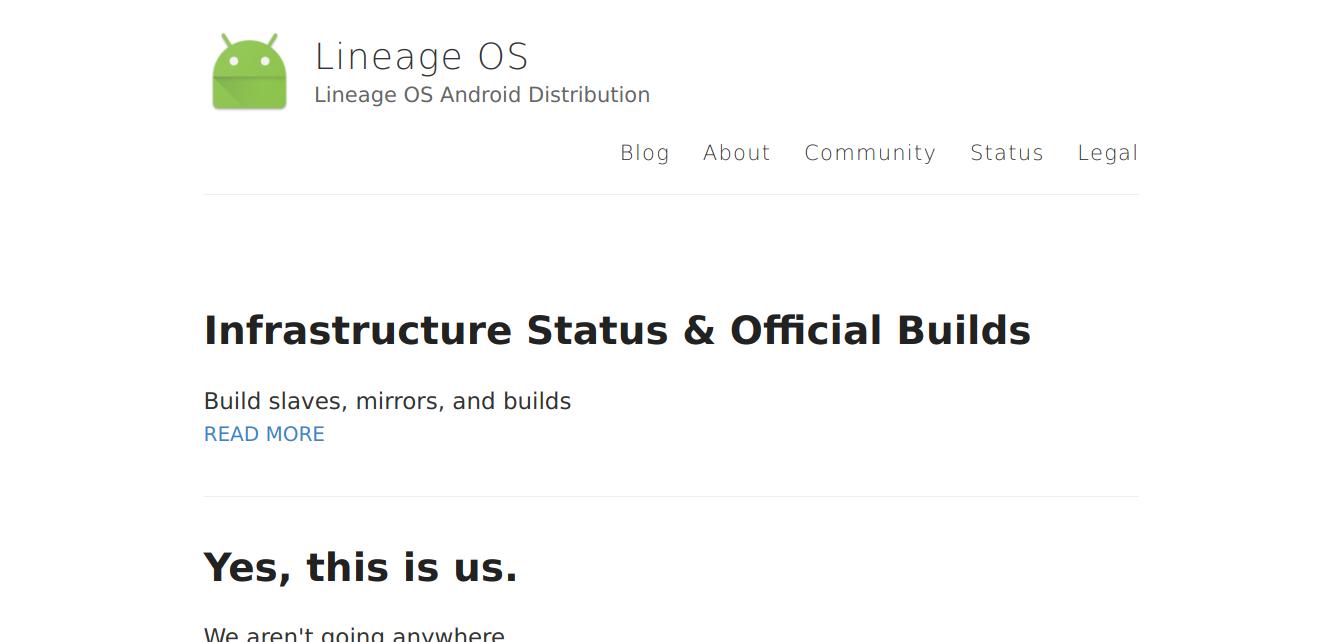 Так выглядел lineageos.org 29 декабря