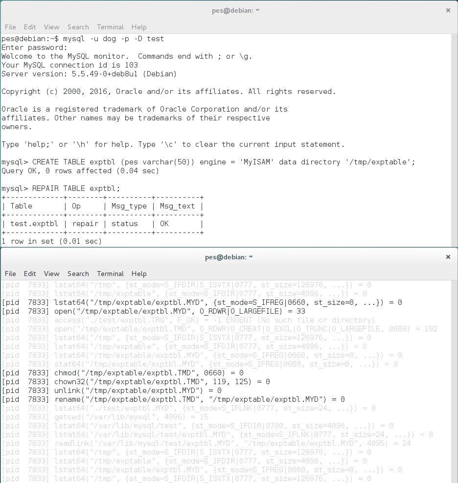 Операции с файлами при выполнении REPAIR TABLE