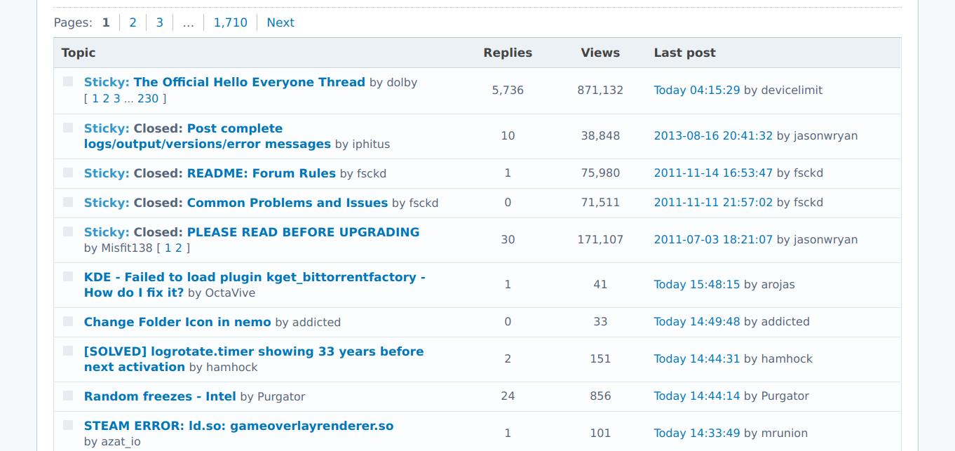 Форум Arch Linux так же аскетичен, как сам дистрибутив