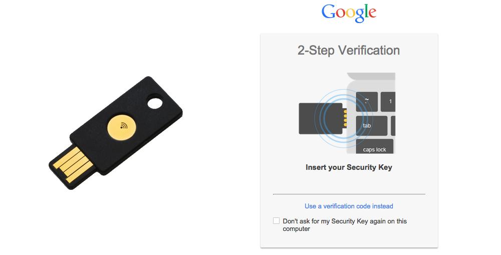 Настройка двухфакторной аутентификации с помощью Google Security Key