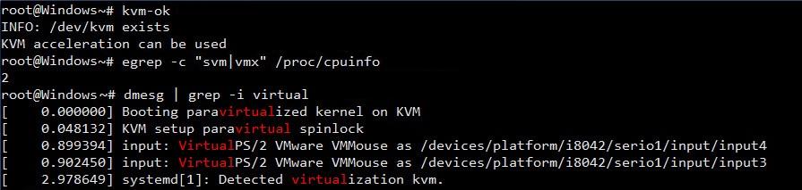 Проверяем поддержку KVM