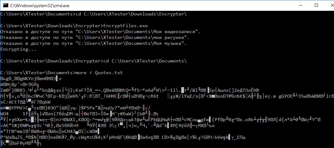 Dr.Web SS не препятствовал шифрованию файлов