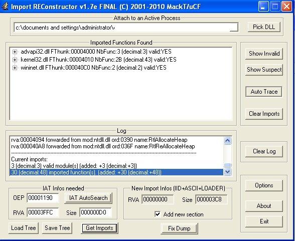 Окно программы Import REConstructor с восстановлением таблицы импорта