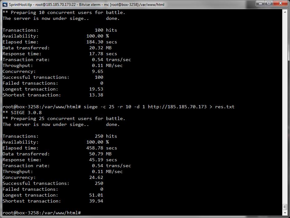 Рис. 7. Результаты для 10 и 25 соединений, PHP-приложение, имитирующее реальную нагрузку